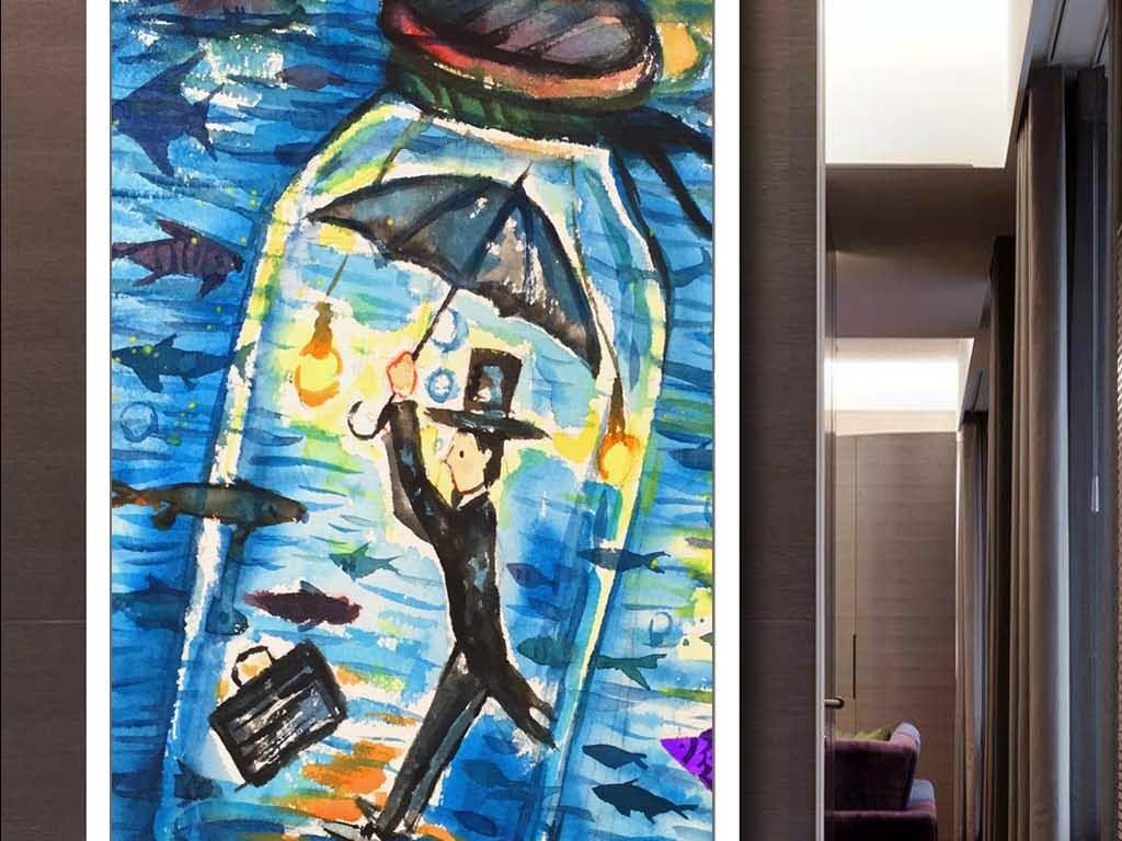 漂流瓶鱼伞蓝色人物手绘背景唯美背景手绘人物童话童话人物唯美手绘