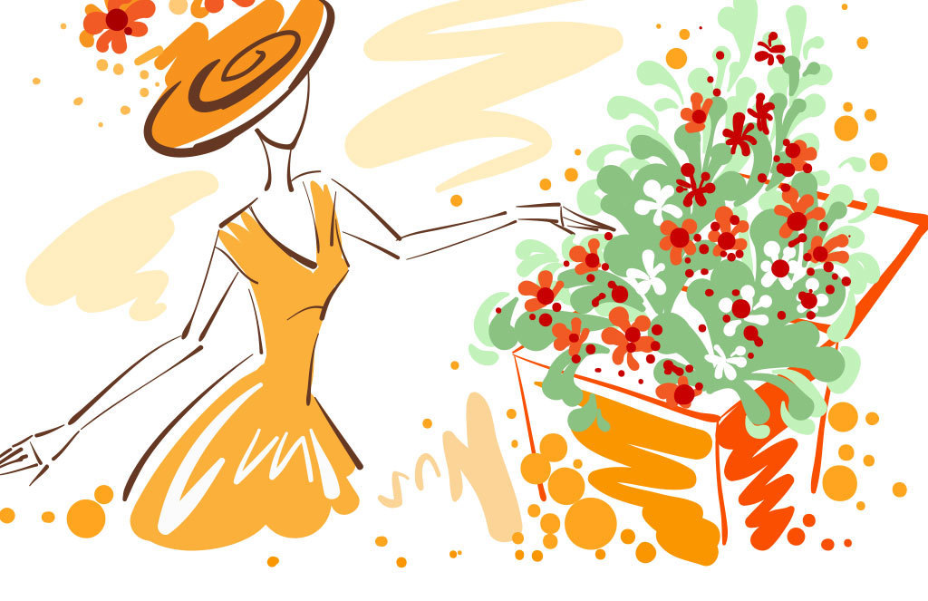 设计元素 人物形象 美女 > 手绘彩绘卡通时尚美女高清图图片