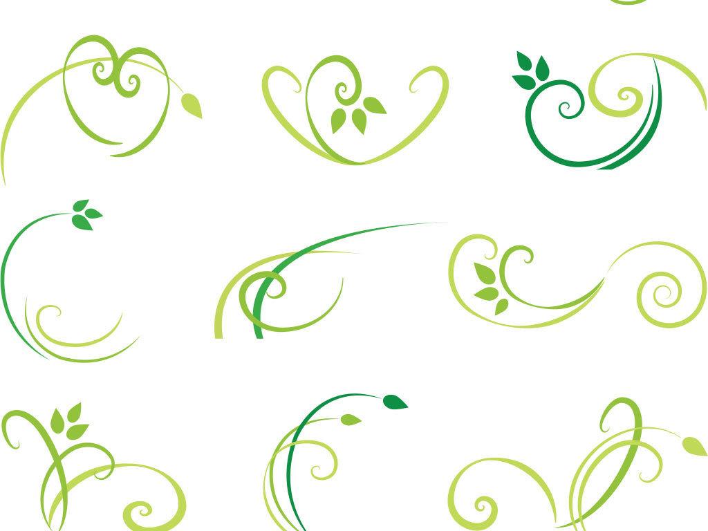 手绘春天绿色线条设计海报素材