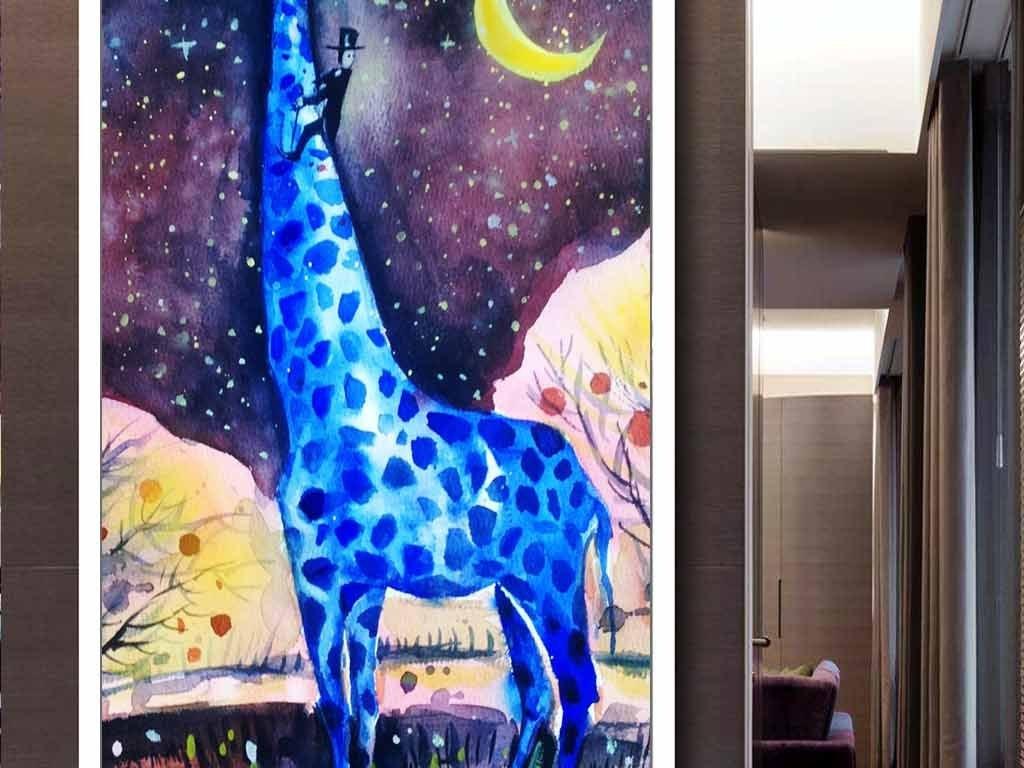 动物画梦幻玄关油画欧式油画梵高月亮长颈鹿星空手绘背景唯美星空星空