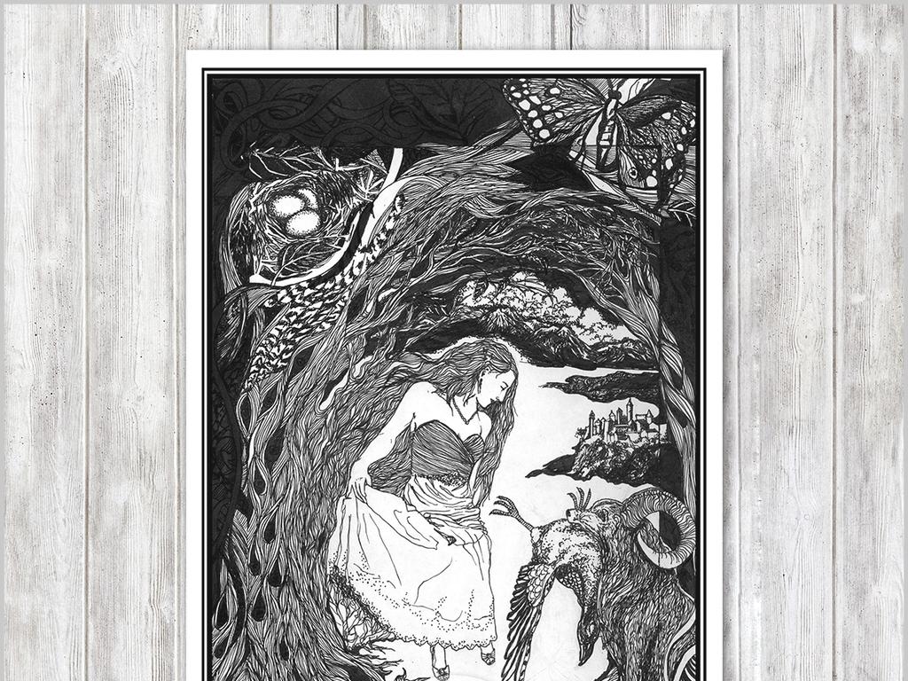 现代简约创意手绘黑白森林美少女插画无框画