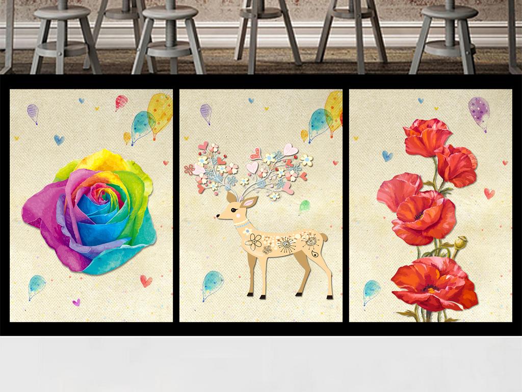 欧式麋鹿玫瑰水彩怀旧装饰画水彩玫瑰玫瑰装饰画黑白