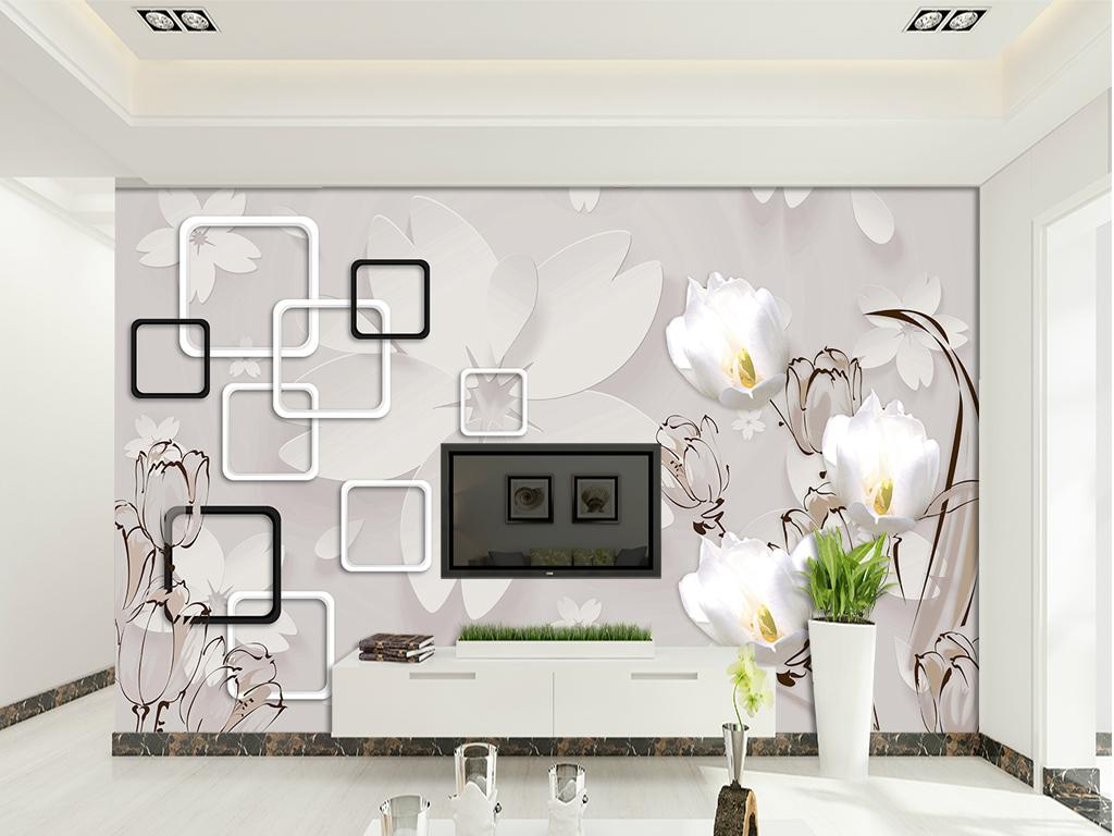 设计作品简介: 手绘郁金香3d立体简约花电视背景 位图, rgb格式高清