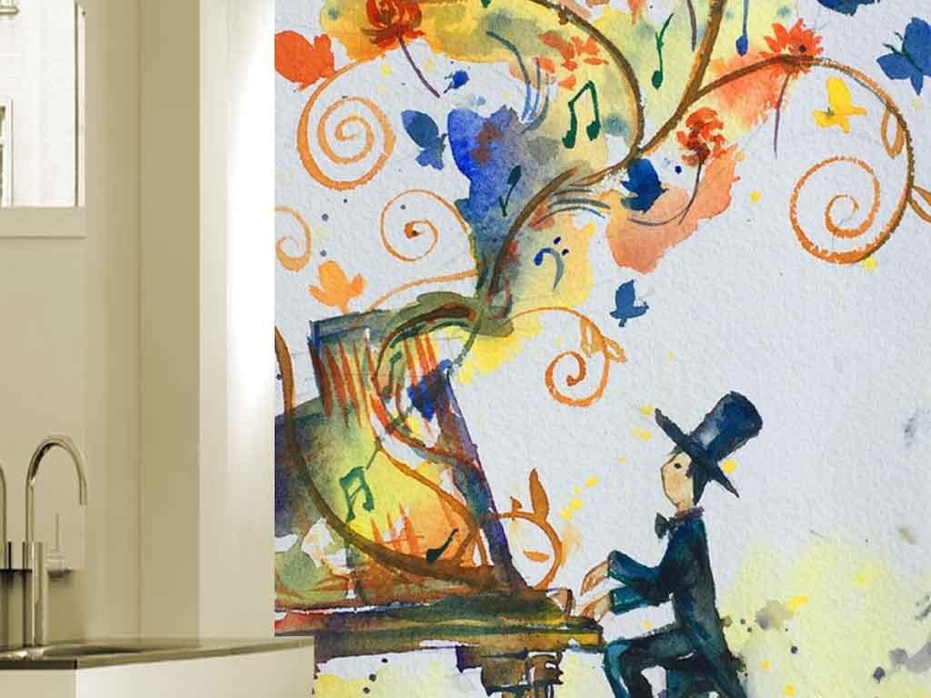 唯美手绘弹钢琴人物玄关背景装饰画