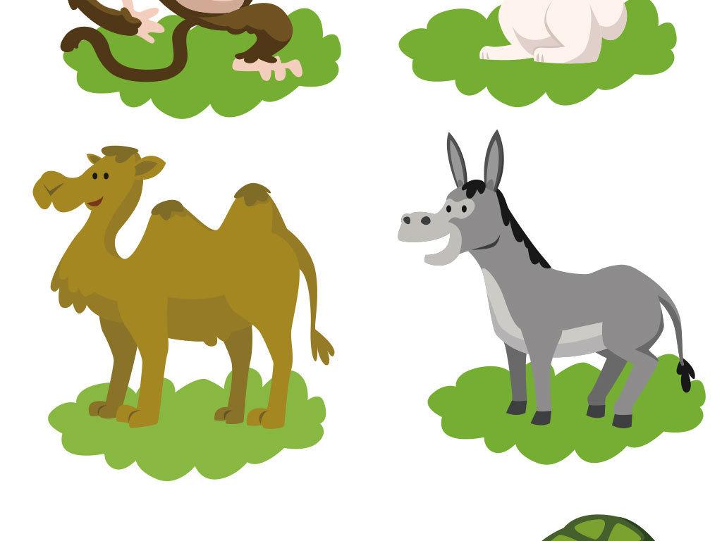 卡通动物大全海报矢量图