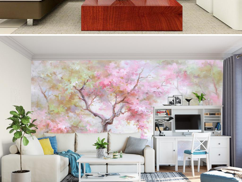 21唯美浪漫温馨大气手绘背景墙