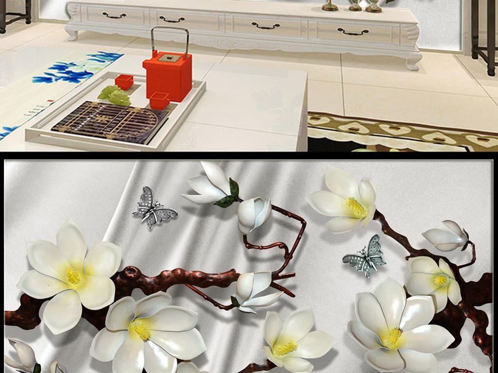 金色叶子珠宝花朵白色丝绸珠宝背景白色背景丝绸背景