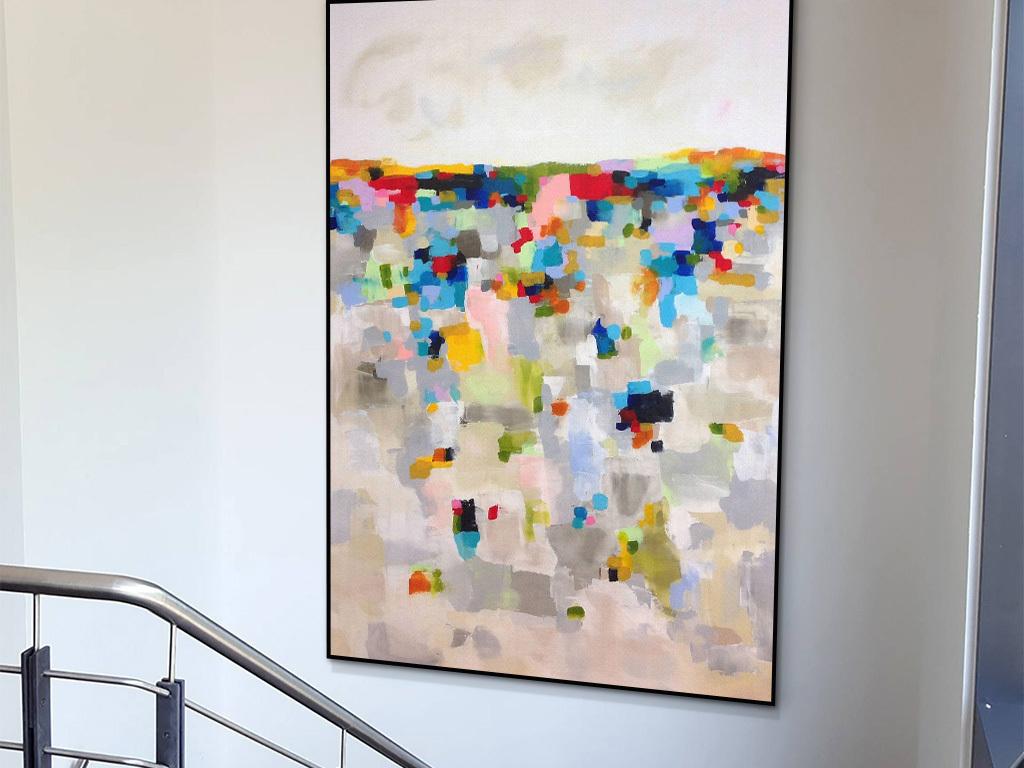 现代简约个性创意马赛克形状抽象油画装饰画图片