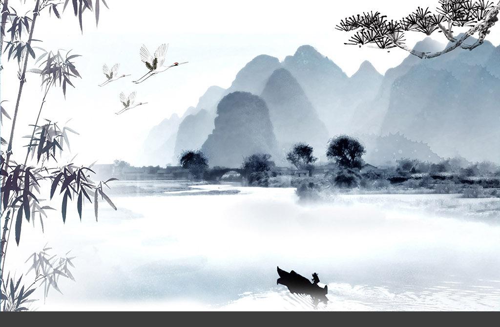 新中式水墨风格山水宽幅背景墙壁画图片