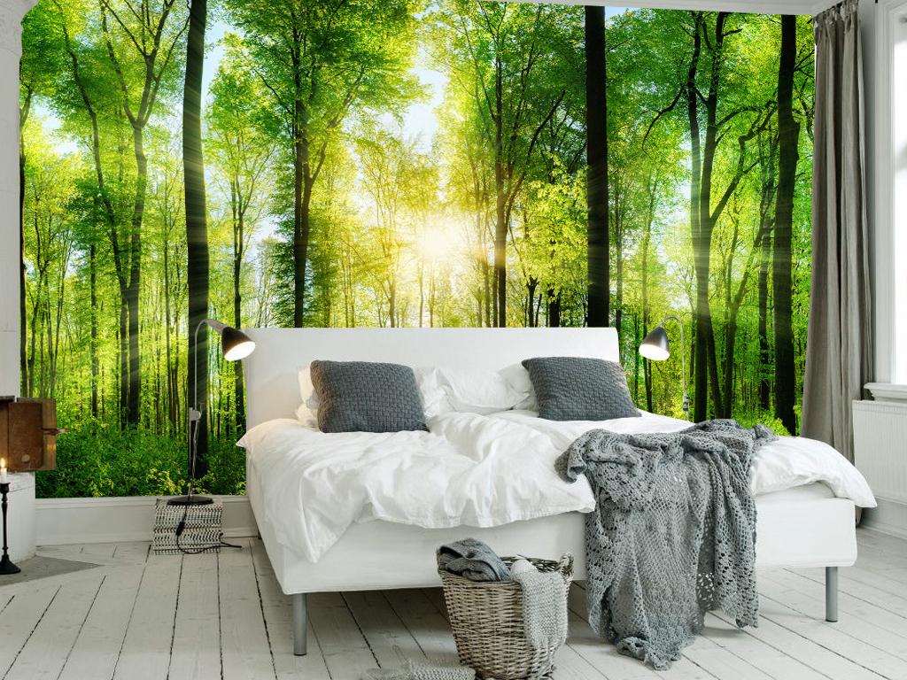 森林背景客厅壁画幼儿园壁画壁画图片3d壁画电视背景