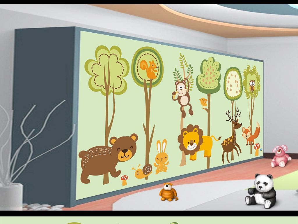 卡通树林动物儿童房壁画(图片编号:16133933)