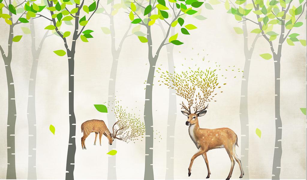 树林迎客松壁画风景壁画客厅壁画幼儿园壁画壁画图片3d壁画电视背景墙