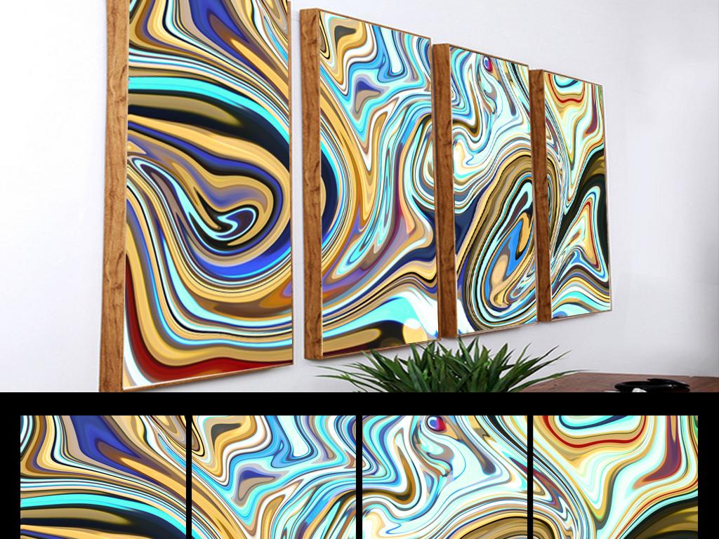 现代艺术线条无框画抽象图案装饰画