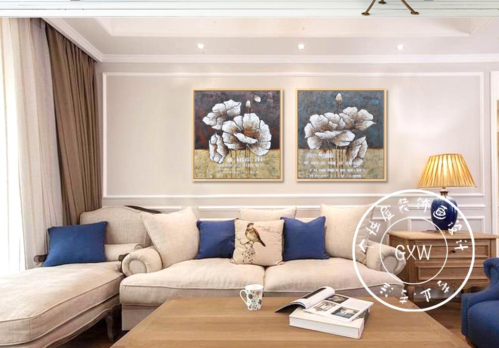 背景墙|装饰画 无框画 植物花卉无框画 > 手绘油画美式装饰画花卉