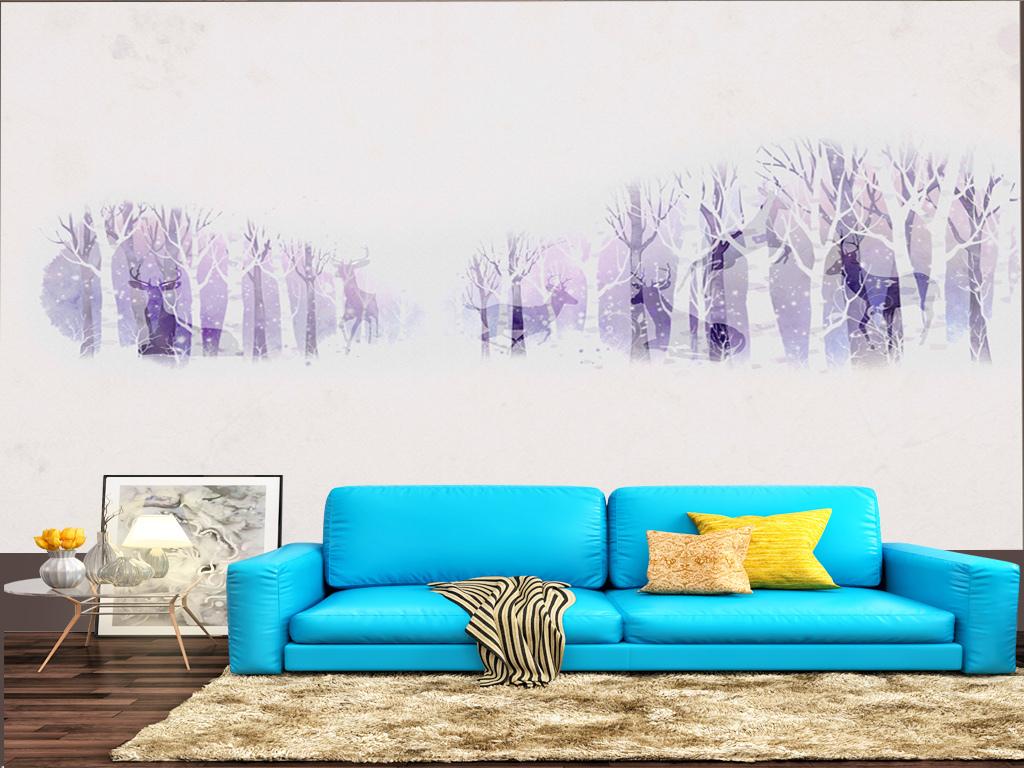 现代简约北欧森林麋鹿背景壁画装饰(图片编号:)_手绘