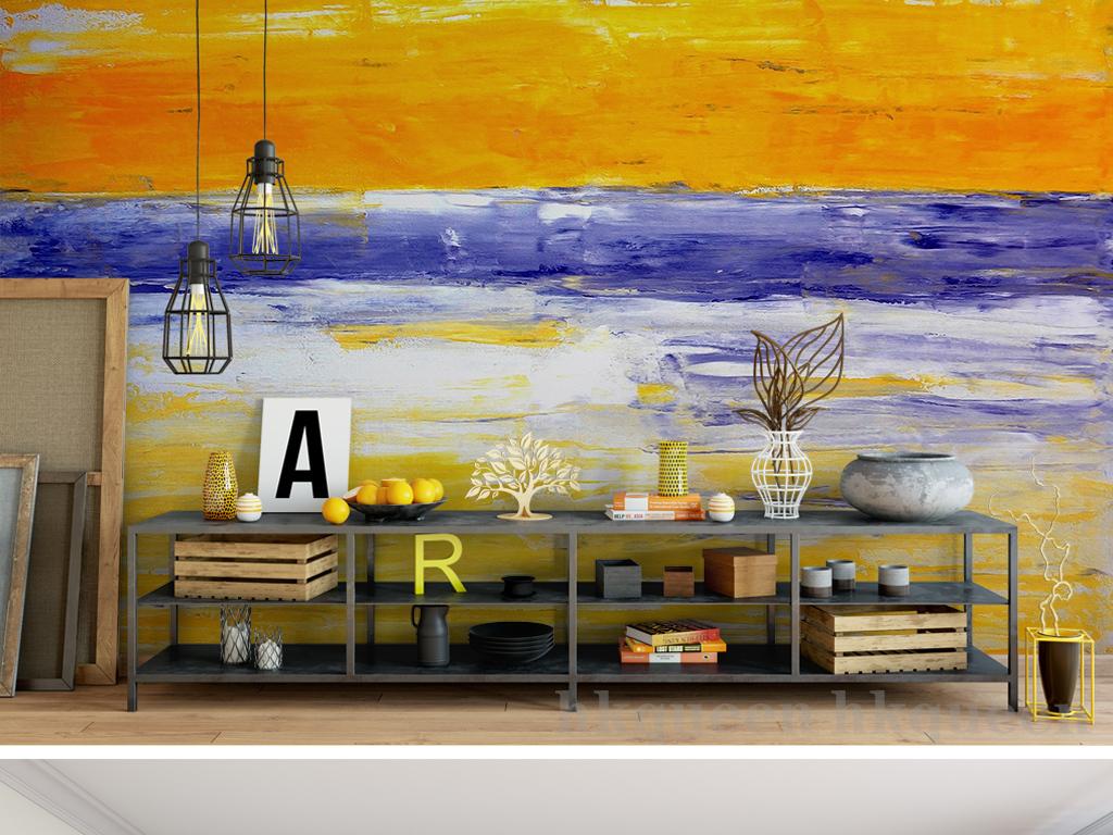 欧式复古抽象油画彩色绘画风景背景墙