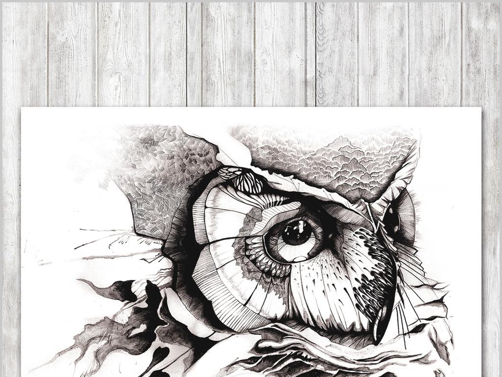 素描鸟类动物森林北欧创意手绘创意猫头鹰现代欧式