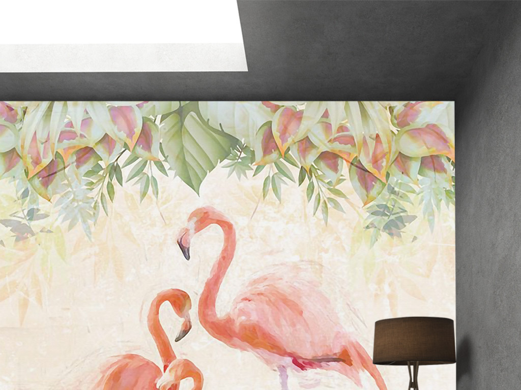 唯美手绘火烈鸟花朵电视背景墙