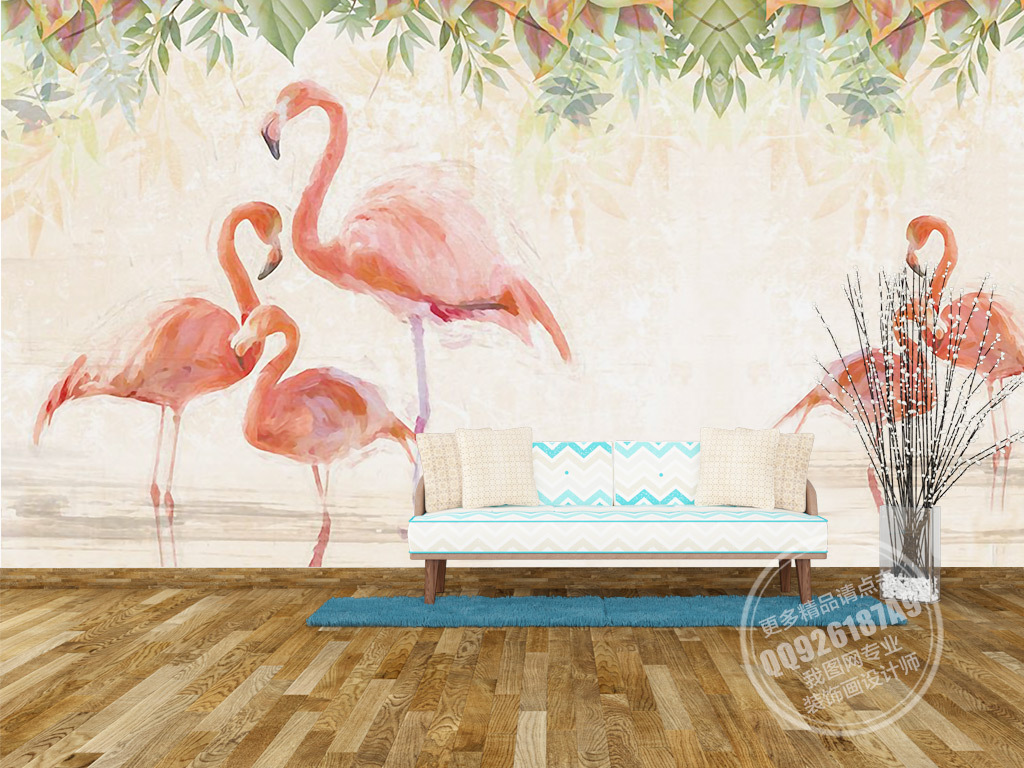 背景墙|装饰画 电视背景墙 欧式电视背景墙 > 唯美手绘火烈鸟花朵电视图片