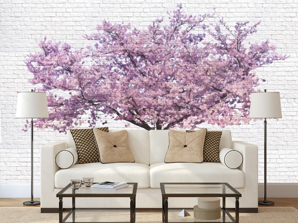 电视背景墙现代简约风格背景墙手绘风格背景墙现代背景桃树
