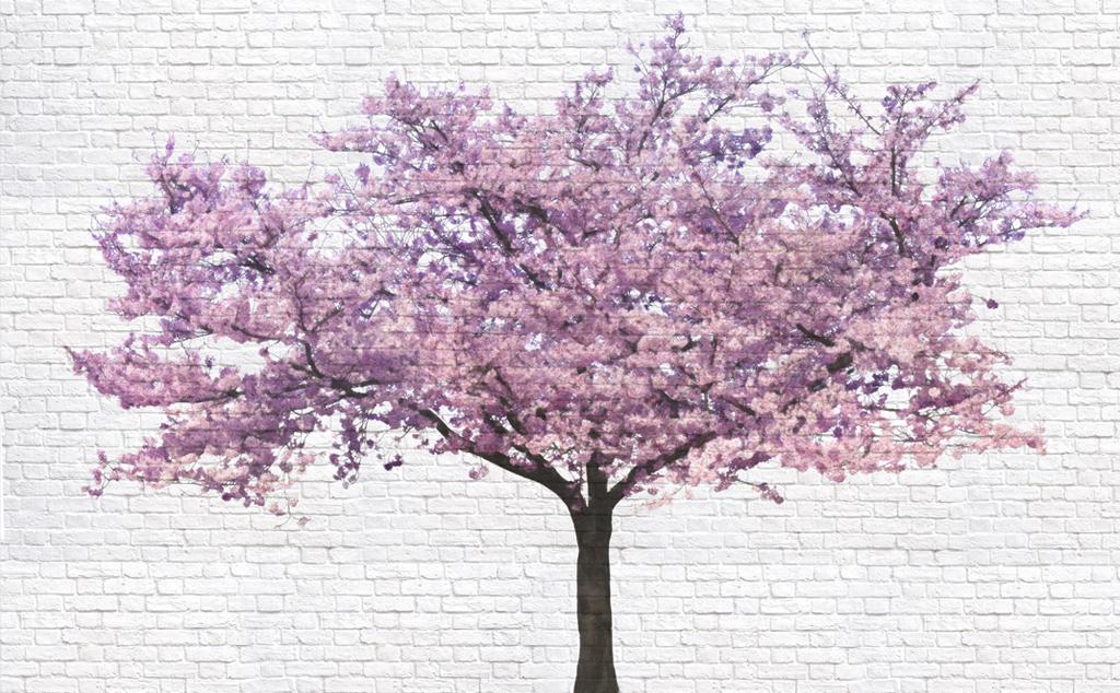 茂密桃花树手绘图片