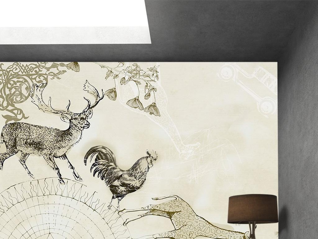手绘简约麋鹿卧室背景墙