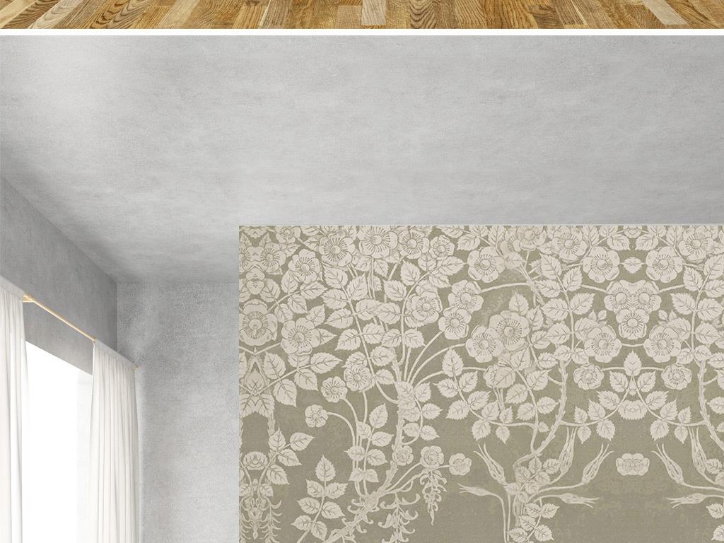 手绘树叶卧室背景墙