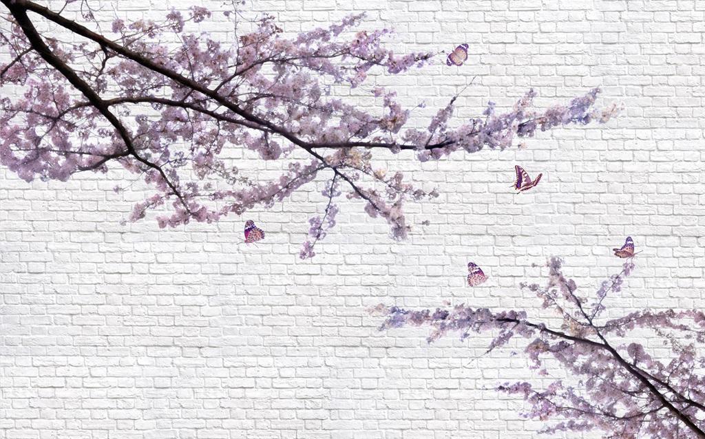 2017年现代简约手绘梅花树枝白砖背景墙图片