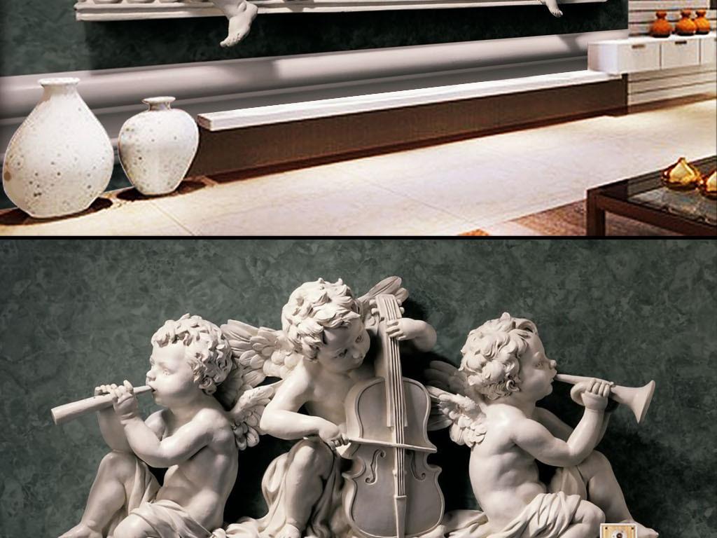 3d立体石膏浮雕欧式装饰画壁纸背景墙