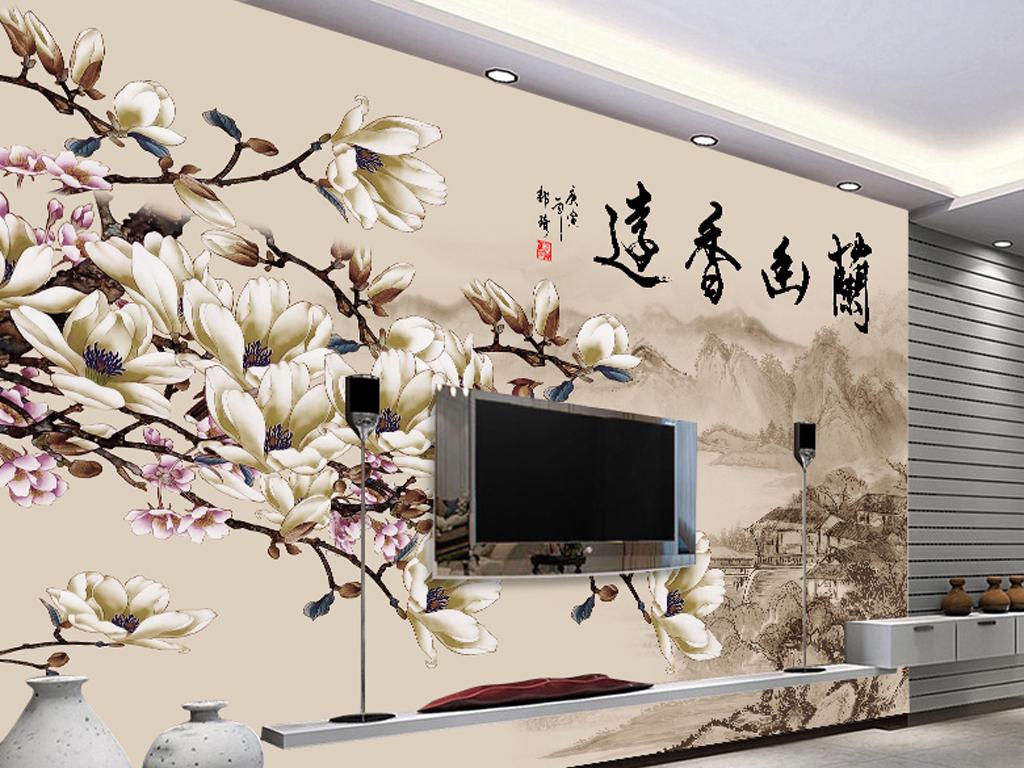154新中式花鸟客厅电视背景墙