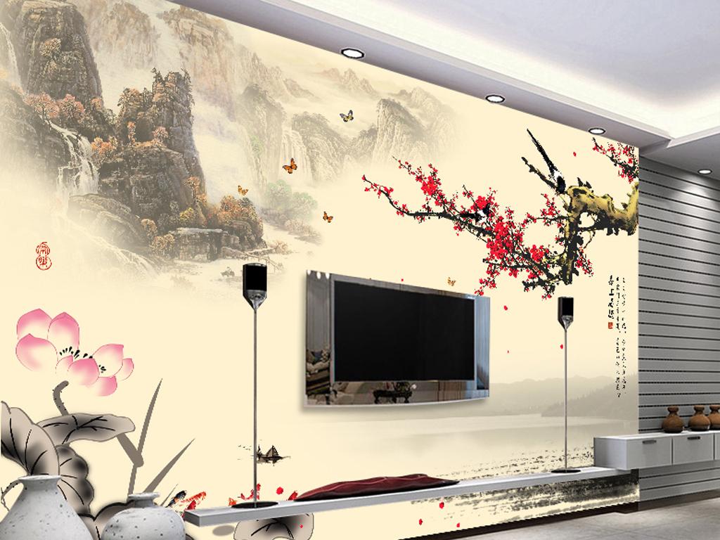 191新中式简约山水画电视背景墙(图片编号:16135289)