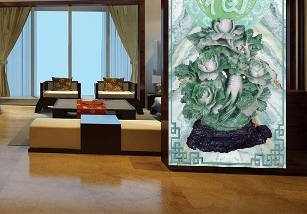 欧式玄关现代玄关隔墙过道玉雕浮雕彩雕雕刻时尚家和