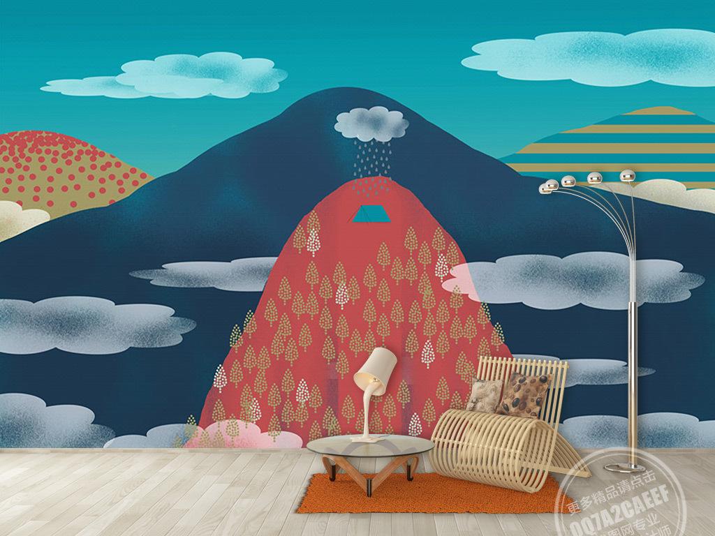 新中式手绘彩色山脉云朵背景墙壁画