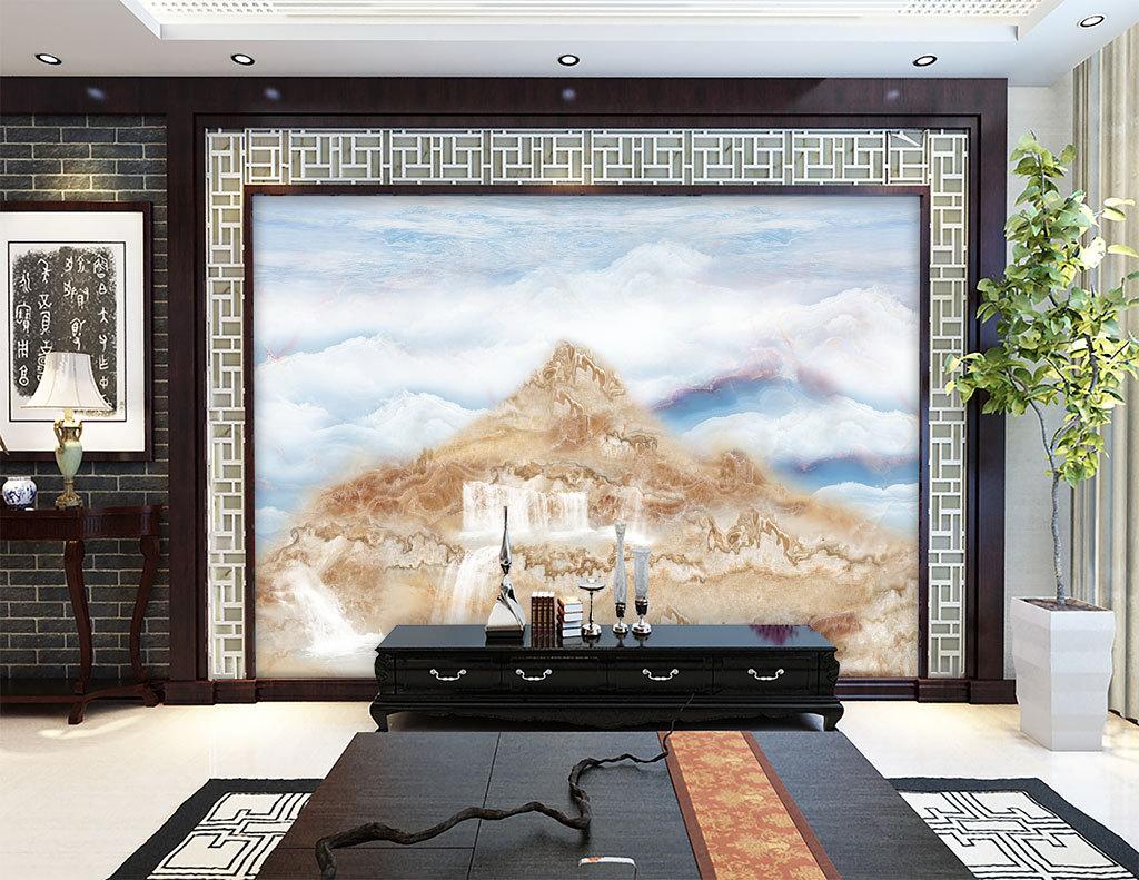 一柱擎天大理石纹电视背景墙