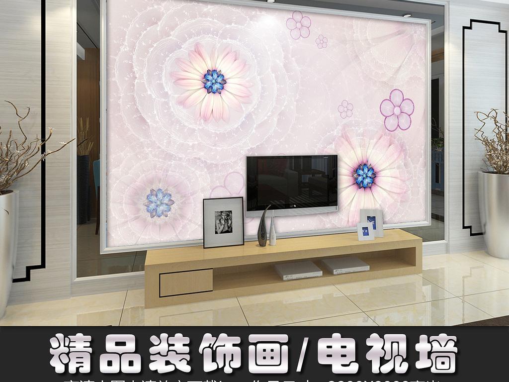 墙纸素材镶钻石珠宝立体背景墙壁画欧式室内设计软装