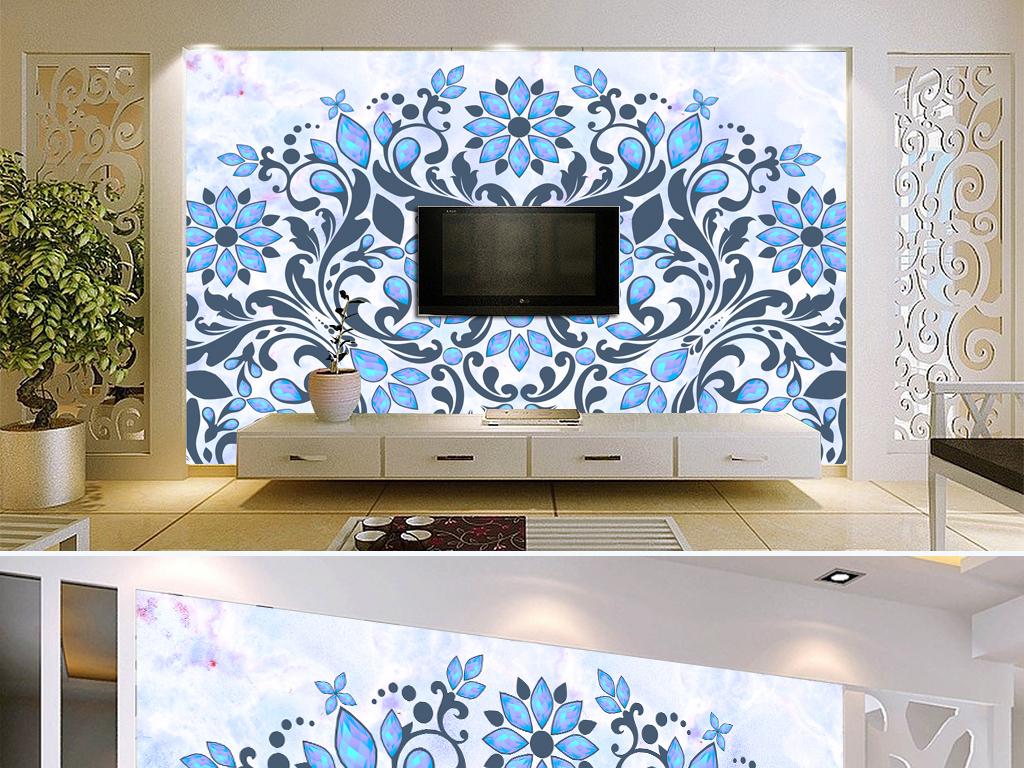 蓝宝石大气蓝色欧式花纹边框大理石电视背景墙