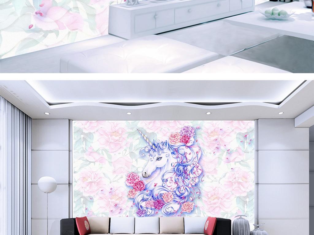 手绘欧式水彩独角兽牡丹花电视背景墙壁纸