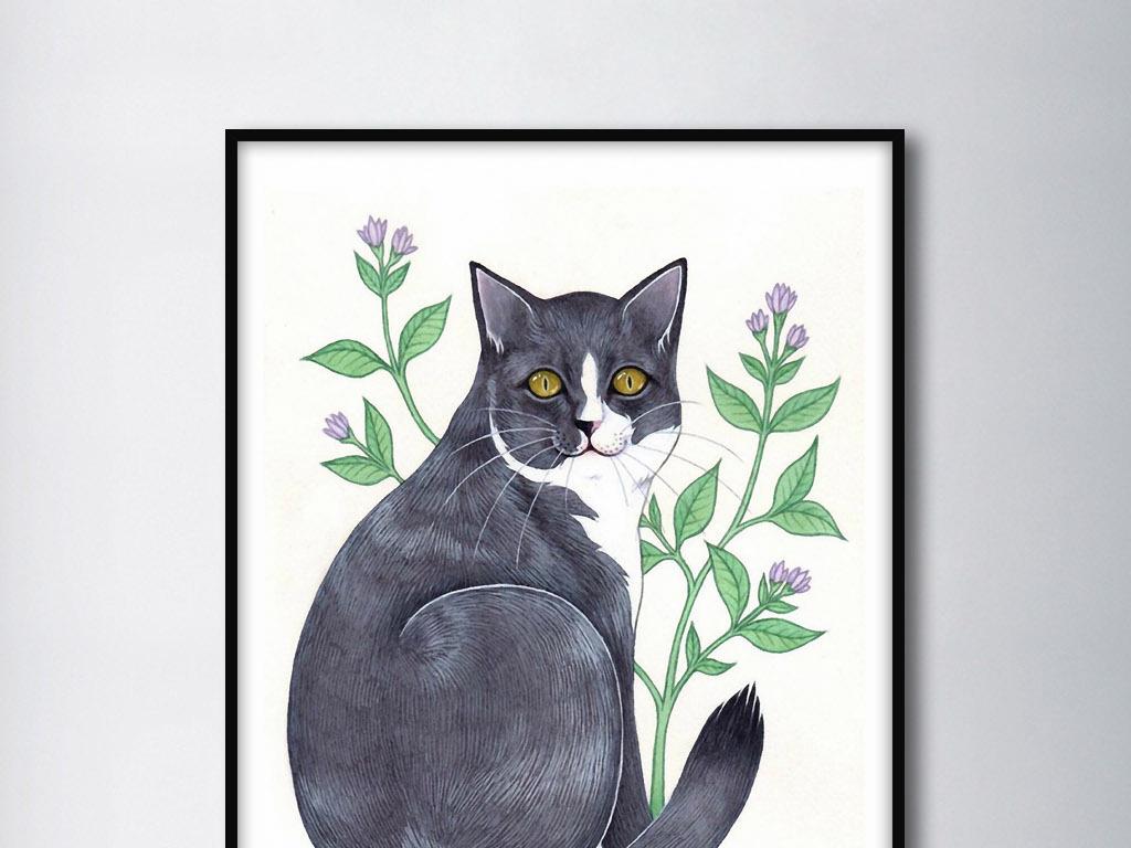 黑猫中式家居家居中式欧式家居手绘欧式卡通猫招财猫叮当猫卡通小猫咪