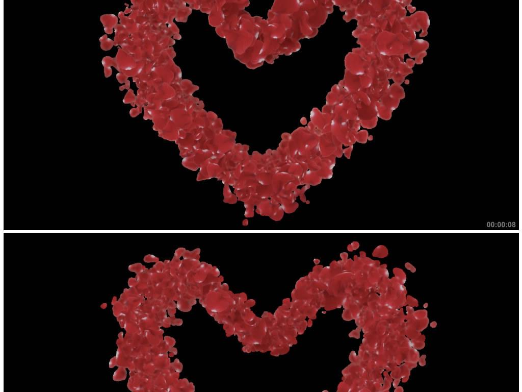动态玫瑰花瓣心形婚庆情人节带透明通道视频图片