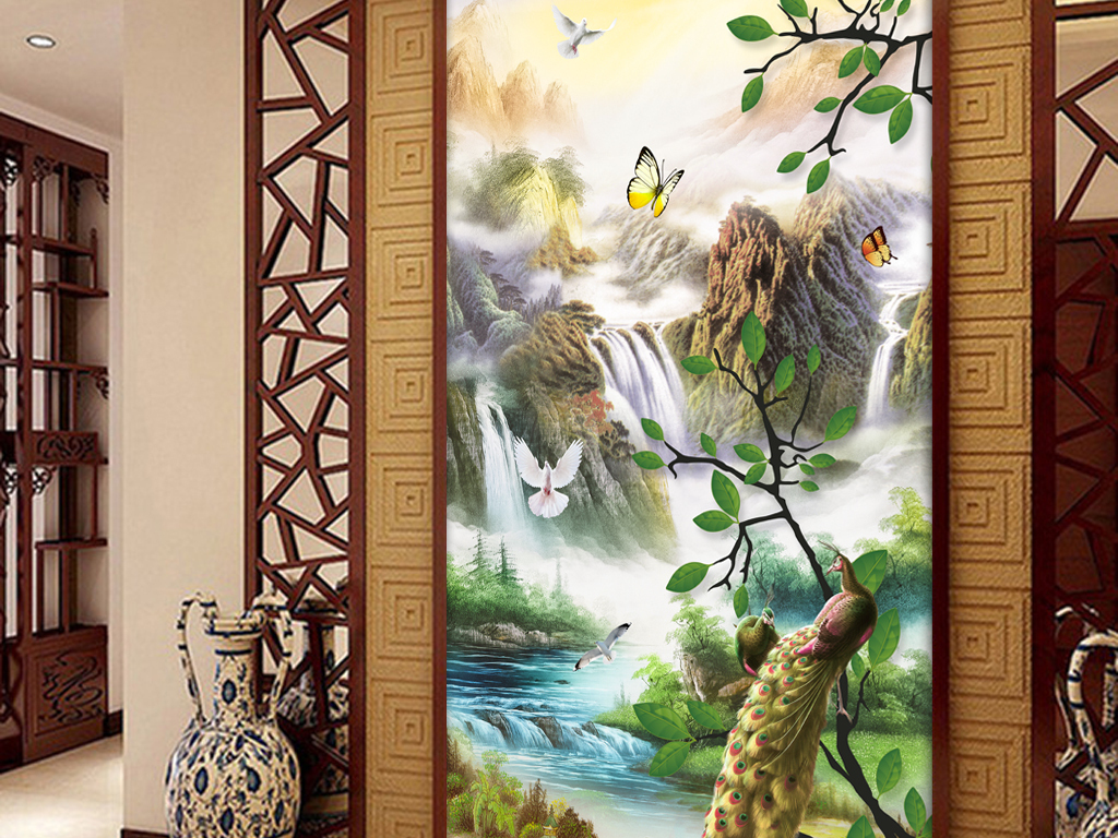 中式山水画玄关背景墙壁画图片