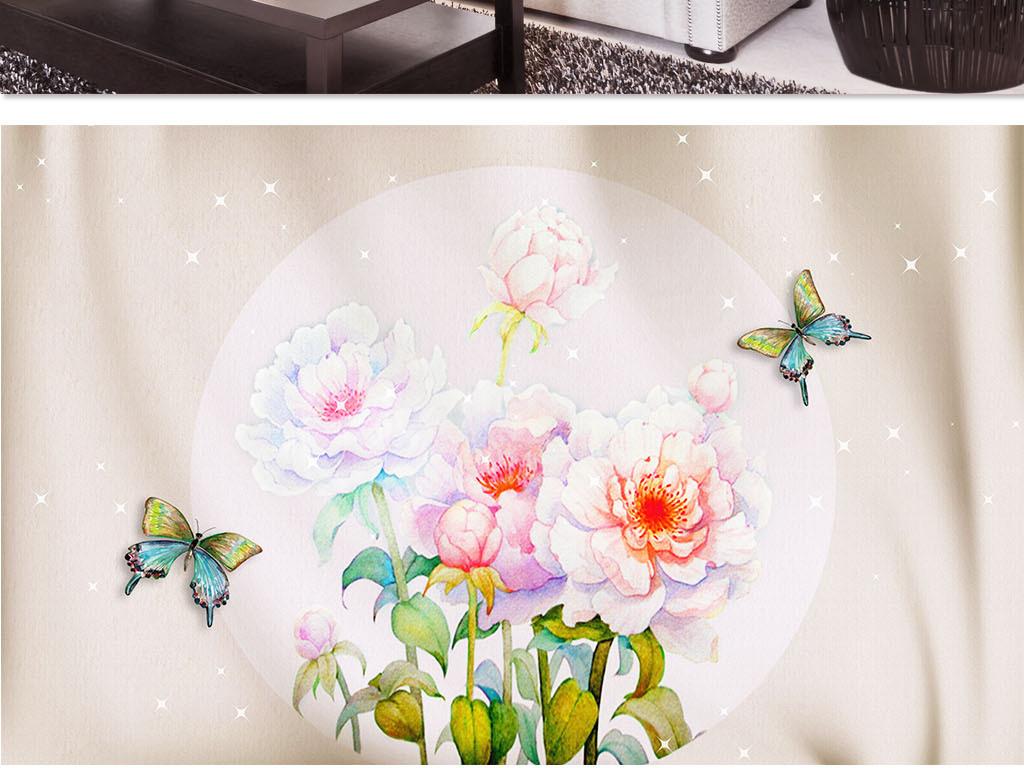 奢华绸缎浪漫花朵手绘背景墙