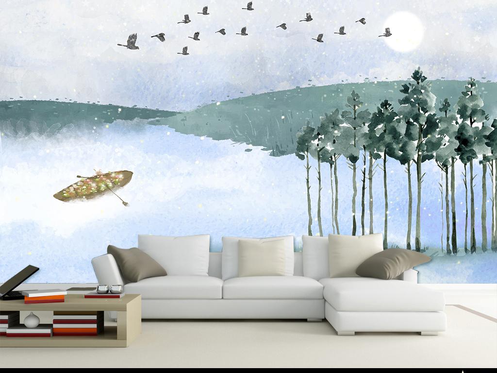 背景墙|装饰画 电视背景墙 手绘电视背景墙 > 手绘抽象风景背景墙