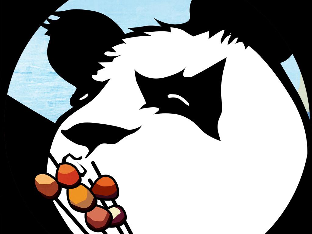 熊猫背景个性手绘手绘pop手绘pop字手绘海报手绘效果