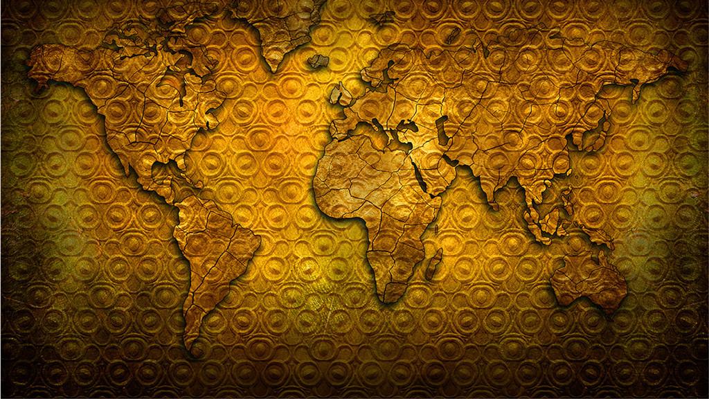 复古世界地图背景墙