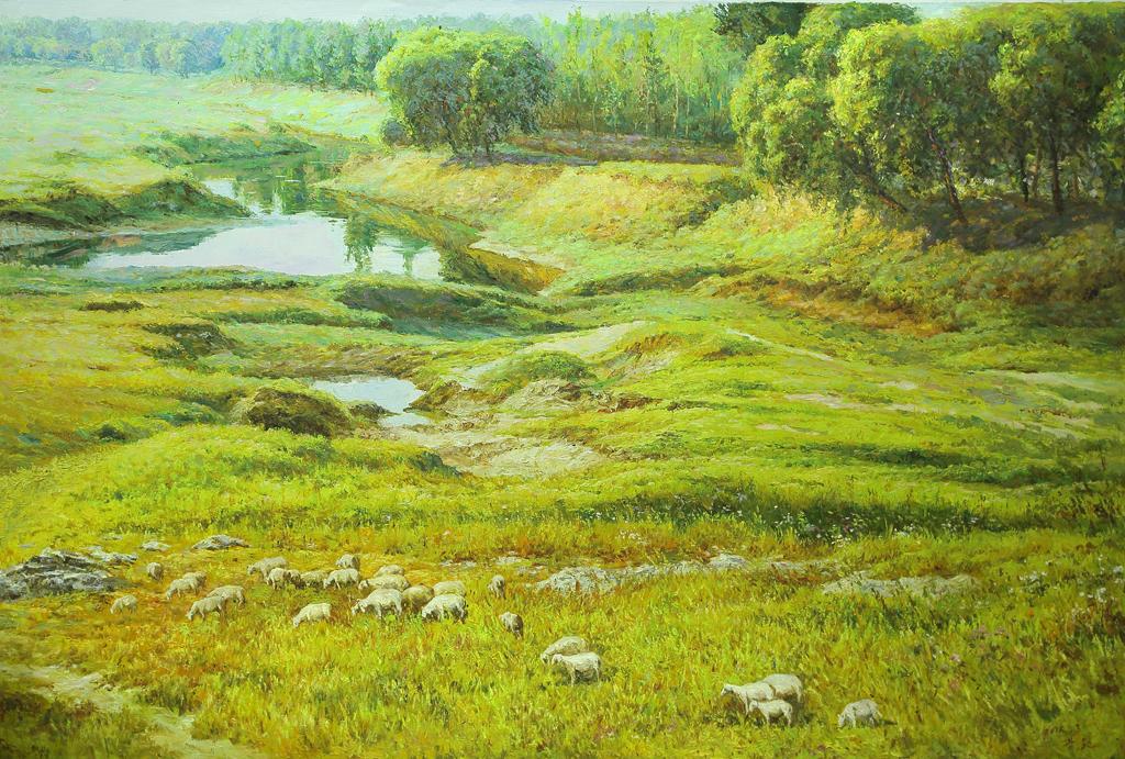 油画羊群草原河流大树森林背景墙