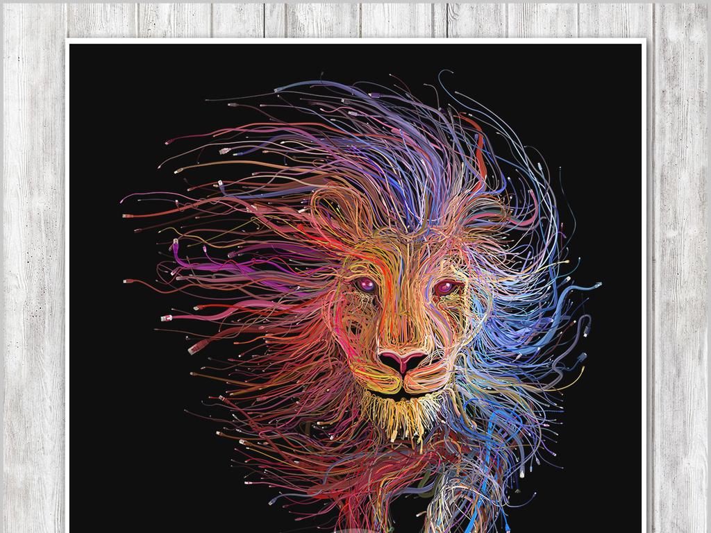 高清手绘水彩动物狮子抽象油画无框画(图片编号:)