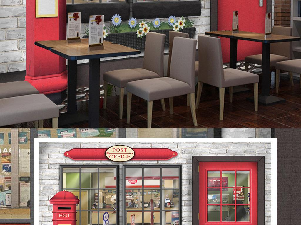 墙纸壁纸现代3d立体欧美手绘咖啡店美食餐厅面包店烘焙店小吃早餐牛奶