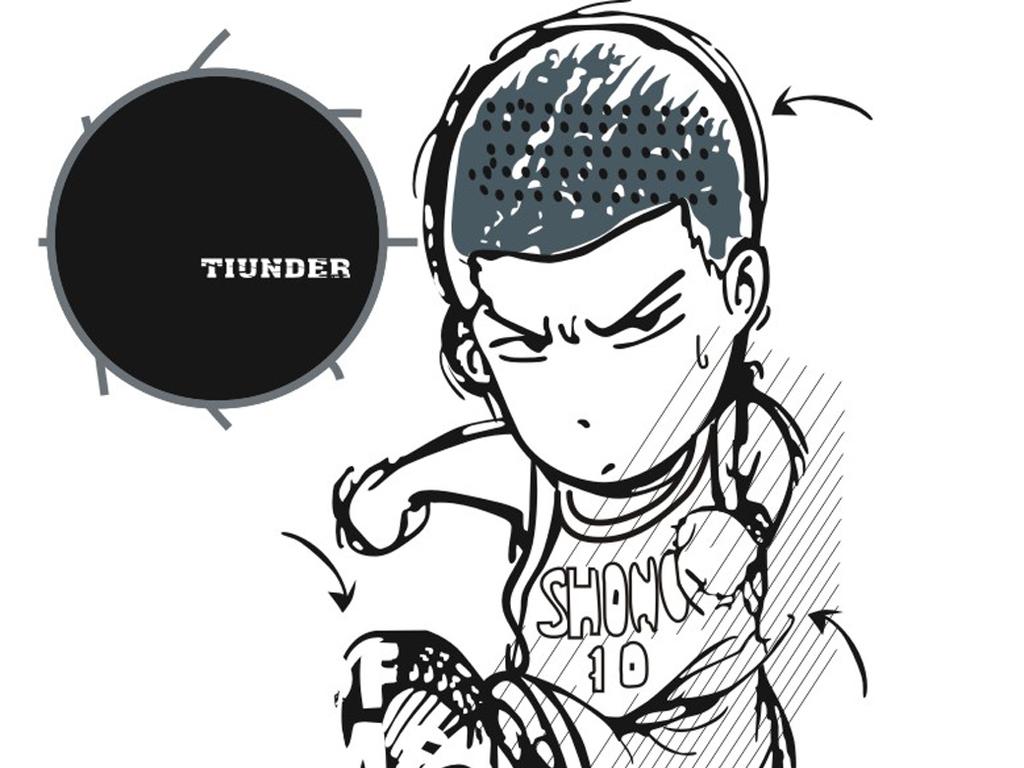 卡通动漫人物黑白简笔画