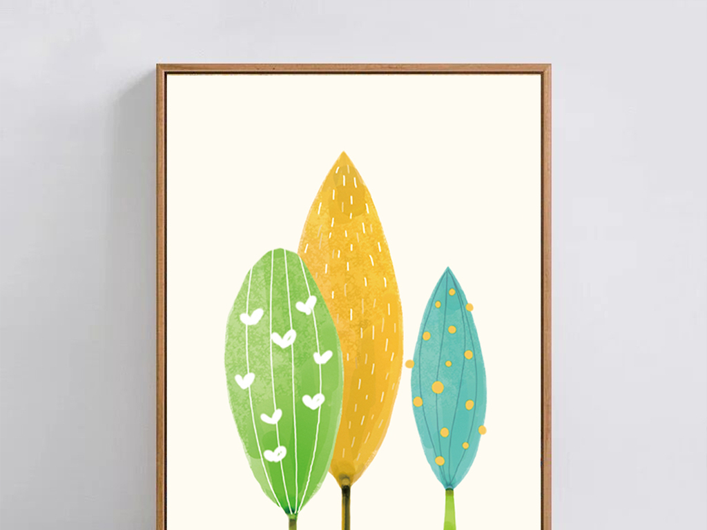 现代简约创意水彩树叶装饰画