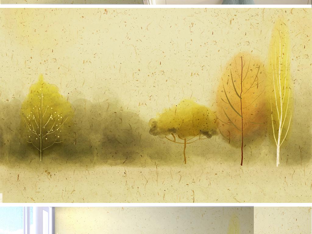 森林黑白北欧装饰画北欧简约装饰画北欧风格装饰画
